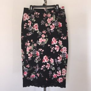 Express Floral Midi Pencil Skirt Size 6